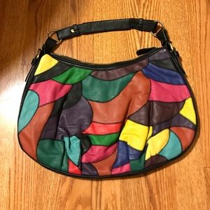NWOT FOREVER XXI 21 PATCHWORK FAUX LEATHER HOBO